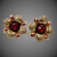 10k Green Gold & Rose Gold Retro Earrings