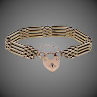 Heavy Victorian 9k Gold Locking Heart Clasp Bracelet