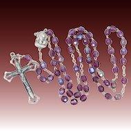 Vintage Amethyst Carnival Glass Rosary
