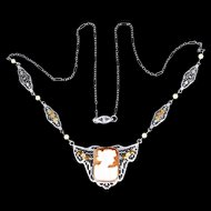 Art Deco 14k White Gold Filigree Tri-Color Cameo Necklace