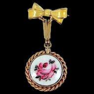 1940's Guilloche Enamel Lapel Photo Locket Pin