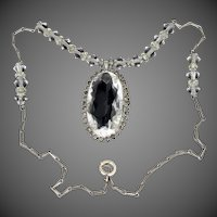 1920's Sterling Silver Art Deco Crystals Necklace