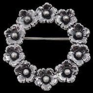 N.E. From Sterling Silver Denmark Floral Pin