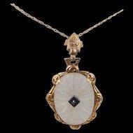 10k Gold, Diamond & Camphor Glass Necklace