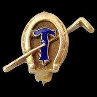 Vintage 14k Gold Temple University Equestrian Pin Horseshoe & Club