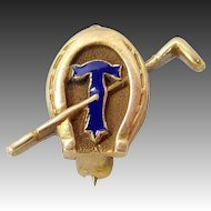 Vintage 14k Gold Temple University Equestrian Pin Horseshoe & Club
