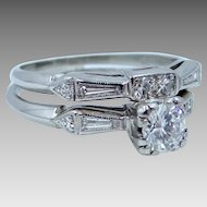 Platinum Diamonds 1tcw Wedding Ring Set Circa 1930's