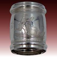 Victorian Man & Woman w/Sleigh Silverplate Napkin Ring