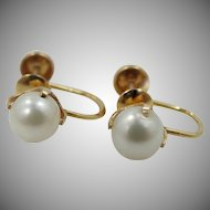 10k Yellow Gold Cultured Pearls Screw Back Earrings