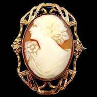 Gold Filled Carved Shell 1930's Cameo Brooch