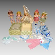 RARE Vogue 1943 5 Toddles Dolls & Wardrobe Fairy God Mother +++