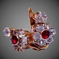 10k Gold Victorian Leverback Garnet & Crystals Earrings