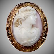10k Gold Victorian Angelskin Coral Cameo Pin / Pendant