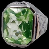 10k White & Yellow Gold Peridot Art Deco Man's Ring