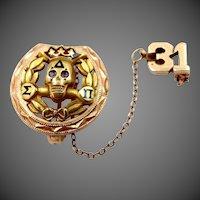 10k Gold Delta Sigma Pi Fraternity Pin Penn State University