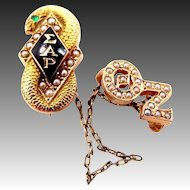 14k Gold Sigma Alpha Rho Seed Pearls Serpent Fraternity Pin 1927