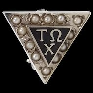 18k White Gold & Seed Pearls Tau Omega Chi Fraternity Pin