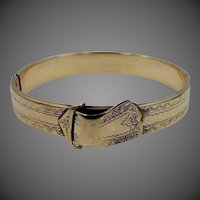 Victorian 14k Gold Bangle Bracelet with Buckle Motif