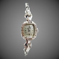14k White Gold Ladies Longines Diamond Watch