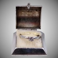 1930's 10k White Gold Engagement Ring Charm with Box