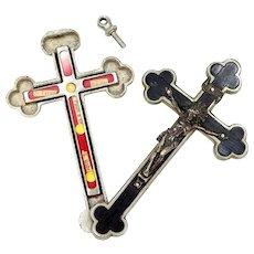 Antique 1st Class Folding Cross Reliquary St Gabriel, St Theresa & St Paul