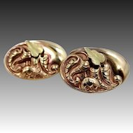 Victorian Tri Color Gold Top Cufflinks Green Gold Leaves