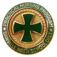 10k Solid Gold & Enamel 1960's Danville Nursing Pin