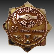 14k Solid Gold United Mine Workers 50 Year Service Pin