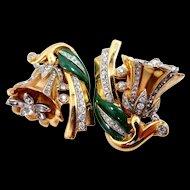Coro Duette Trembler Clips Enamel Trumpet Flowers Patent 1852188