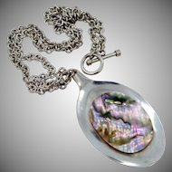 HUGE Sterling Silver Abalone Necklace