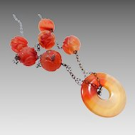 Vintage Carved & Pierced Orange Jade Necklace