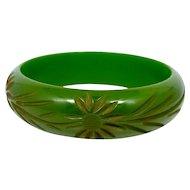 Pea Green Carved Floral Bakelite Bangle Bracelet