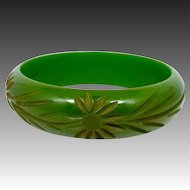 Pea Green Carved Floral Bakelite Bangle Bracelet