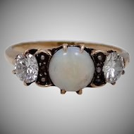14k Gold Opal & Large Diamonds Late Victorian Ring