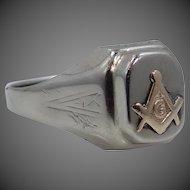 14k White & Yellow Gold Art Deco Masonic Ring