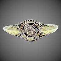 Rare 14k Yellow Gold Filigree Diamond Ring