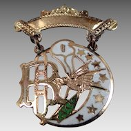 10k Gold & Enamel Daughters of Rebekah Badge Victorian