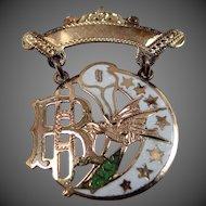 10k Gold & Enamel Daughters of Rebekah Badge Victorian