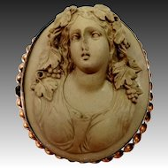 Victorian Carved Lava Bacchante Cameo Brooch High Relief