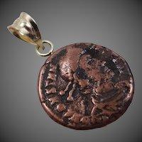 18k Gold Copper Tone Ship Wreck Coin Pendant