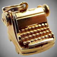 14k Gold Figural Typewriter Charm with Moving Parts