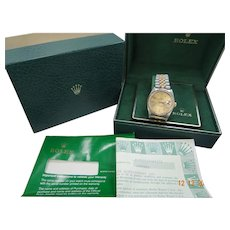 Rolex Mens 18k/SS Datejust w/ Champagne Dial 16233 With Boxes - Red Tag Sale Item