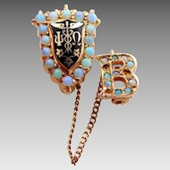 14k Psi Omega NYU 1929 Fraternity Pin with Beta Chapter Pin Opals
