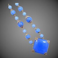 1920's Signed Czechoslovakia Blue Chalcedony Colored Glass Necklace