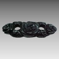 "3"" Wide Carved & Pierced Floral Bakelite Bar Pin"