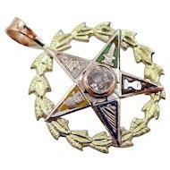 14k Tri-Color 0.15 Point Diamond Eastern Star Pendant
