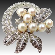 Pretty Jomaz Joseph Mazer Faux Pearls & Rhinestones Pin