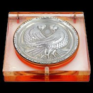 Vintage Sterling Silver, Doves & Pink Lucite Compact