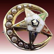 Vintage 10k Gold & Seed Pearls Eastern Star Pin