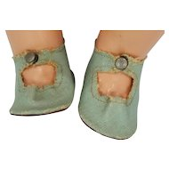 1950's Blue Leatherette Snap Front Doll Shoes